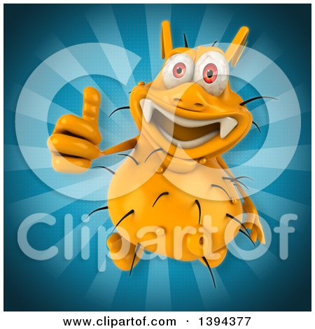 Clipart of a 3d Yellow Germ Virus, on a Blue Background - Royalty Free Illustration by Julos