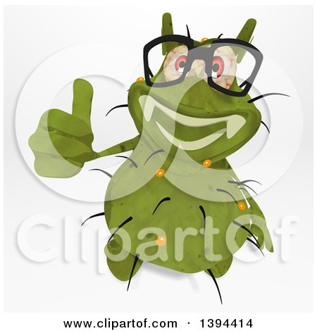 Clipart of a Cartoon Green Germ Virus, on a White Background - Royalty Free Illustration by Julos
