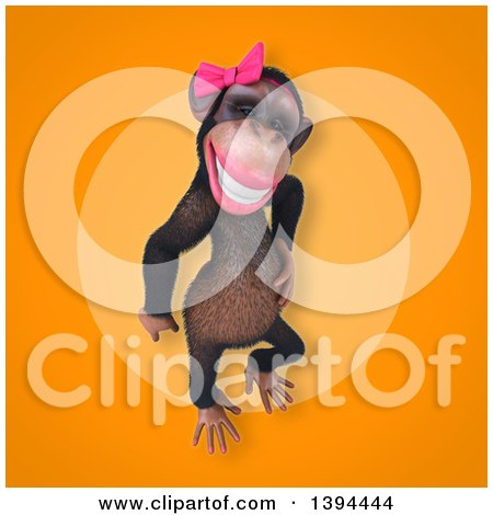 Clipart of a 3d Female Chimpanzee, on an Orange Background - Royalty Free Illustration by Julos