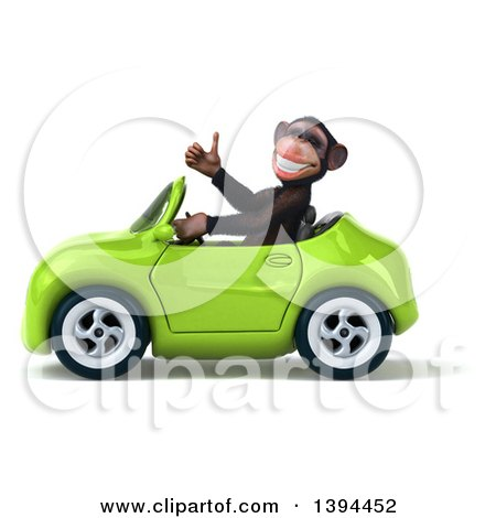 Clipart of a 3d Chimpanzee Monkey Driving a Convertible Car, on a White Background - Royalty Free Illustration by Julos