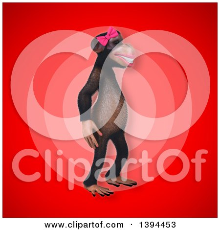 Clipart of a 3d Female Chimpanzee, on a Red Background - Royalty Free Illustration by Julos