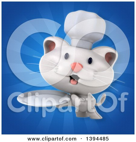 Clipart of a 3d White Chef Cat, on a Blue Ray Background - Royalty Free Illustration by Julos