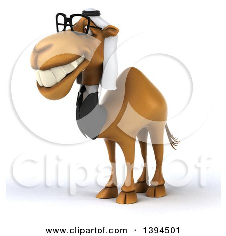 Clipart of a 3d Arabian Business Camel, on a White Background - Royalty Free Illustration by Julos