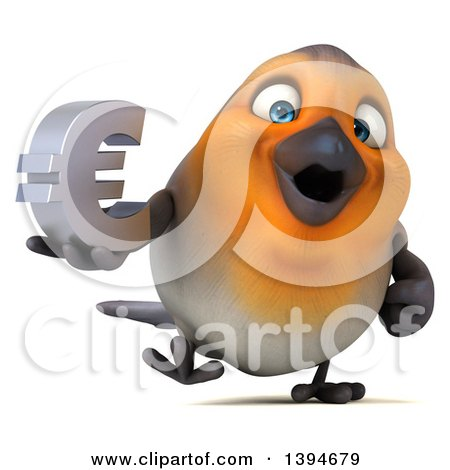 Clipart Of A 3d Red Robin Bird Holding A Euro Currency Symbol On A