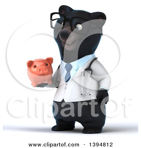 Clipart of a 3d Black Bear Veterinarian or Doctor Holding a Piggy Bank, on a White Background - Royalty Free Illustration by Julos