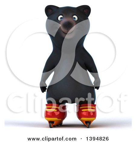 Clipart of a 3d Black Bear Roller Blading, on a White Background - Royalty Free Illustration by Julos