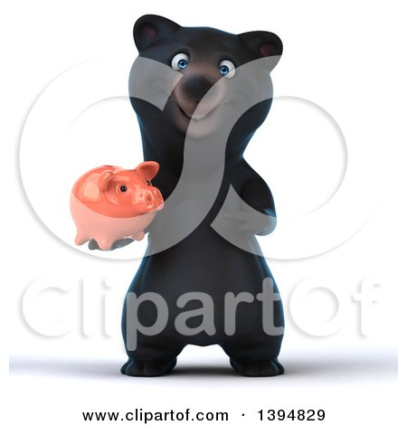 Clipart of a 3d Black Bear Holding a Piggy Bank, on a White Background - Royalty Free Illustration by Julos