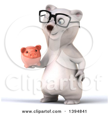 Clipart of a 3d Bespectacled Polar Bear Holding a Piggy Bank, on a White Background - Royalty Free Illustration by Julos