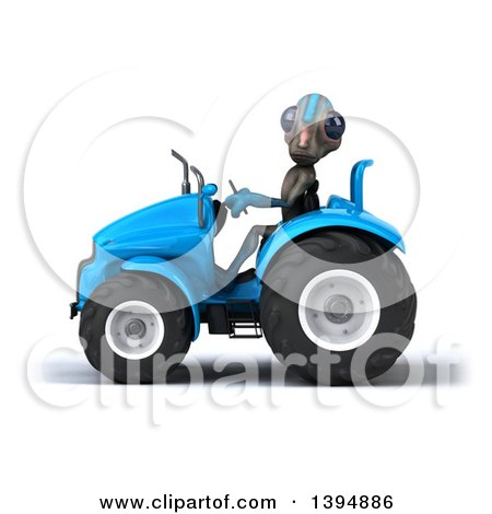 Clipart of a 3d Alien Operating a Tractor, on a White Background - Royalty Free Illustration by Julos