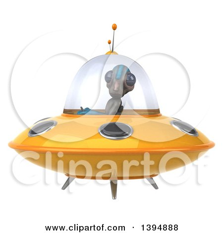 Clipart of a 3d Alien Flying a Ufo - Royalty Free Illustration by Julos