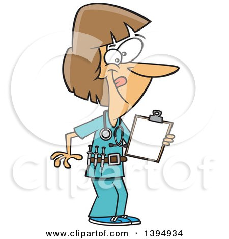 Clipart Of A Cartoon Energetic White Female Nurse Holding A Medical Chart On A Clipboard And Wearing A Vaccine Belt Royalty Free Vector Illustration