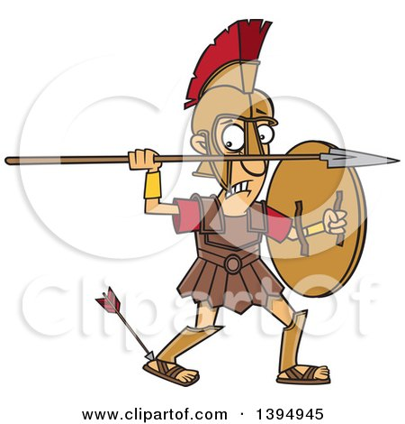 Clipart of a Cartoon Greek God, Achilles, with an Arrow in His Heel - Royalty Free Vector Illustration by toonaday