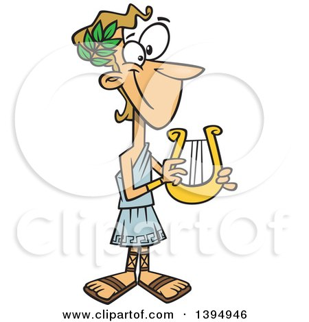 Clipart of a Cartoon Greek God, Apollo, Holding a Lyre - Royalty Free Vector Illustration by toonaday