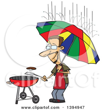 Clipart of a Cartoon Dedicated White Man Holding an Umbrella Nd Flipping a Burger on a Bbq Grill in the Rain - Royalty Free Vector Illustration by toonaday