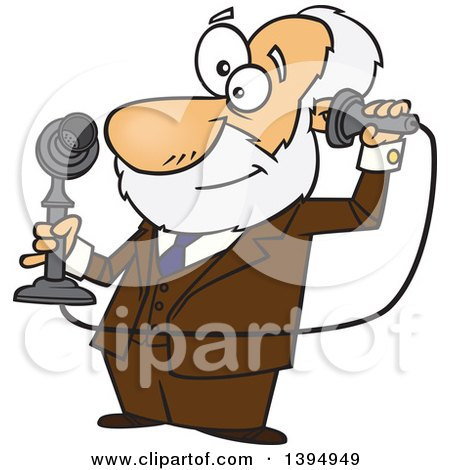 Clipart of a Cartoon Male Inventor, Alexander Graham Bell, Holding a Candlestick Telephone - Royalty Free Vector Illustration by toonaday