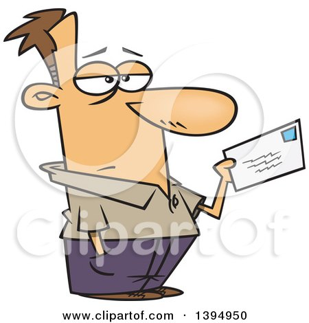 Clipart of a Cartoon Unhappy Caucasian Man Mailing a Letter or Tax Payment - Royalty Free Vector Illustration by toonaday