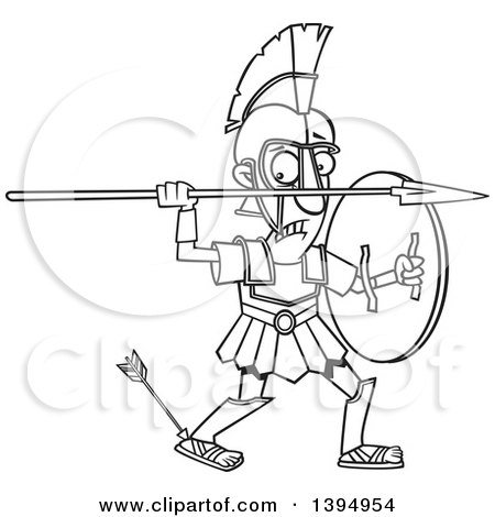 Clipart of a Cartoon Black and White Greek God, Achilles, with an Arrow in His Heel - Royalty Free Vector Illustration by toonaday