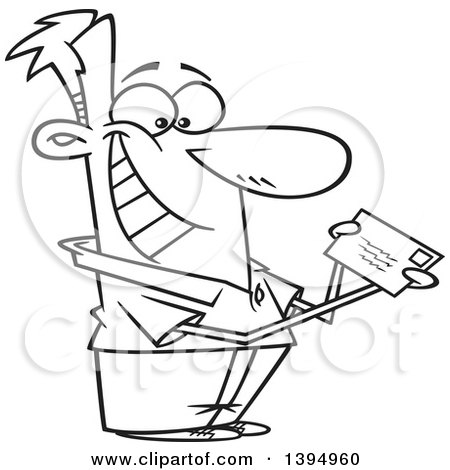 Clipart of a Cartoon Black and White Happy Man Mailing or Receiving a Letter or Tax Refund - Royalty Free Vector Illustration by toonaday