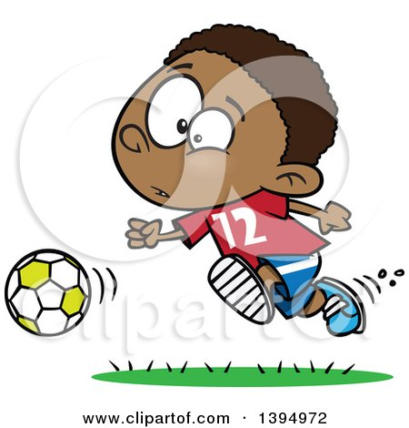 Clipart of a Cartoon Black Boy Playing Soccer - Royalty Free Vector Illustration by toonaday