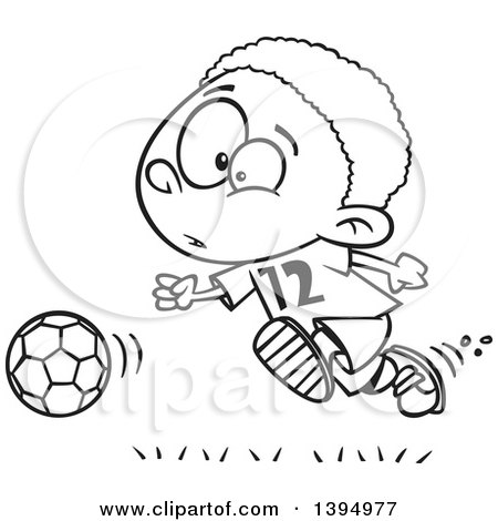 Clipart of a Cartoon Black and White African American Boy Playing Soccer - Royalty Free Vector Illustration by toonaday