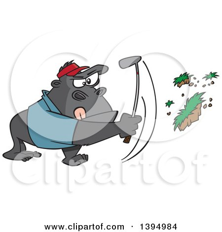 Clipart Of A Cartoon Gorilla Golfer Swinging And Pulling Up Grass Royalty Free Vector Illustration