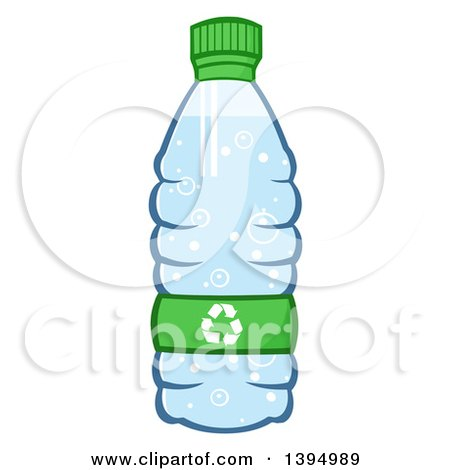 Clipart of a Cartoon Bottled Water with a Recycle Symbol - Royalty Free Vector Illustration by Hit Toon