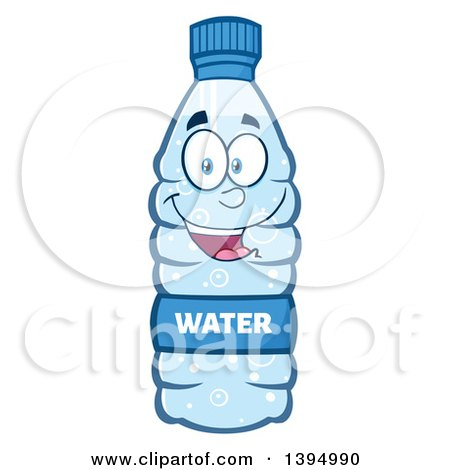 Clipart of a Cartoon Bottled Water Mascot - Royalty Free Vector Illustration by Hit Toon