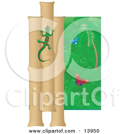 Green And Red Striped Gecko Climbing A Bamboo Wall Near Butterflies in a Rainforest Clipart Illustration by Rasmussen Images