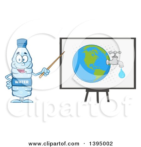 Clipart of a Cartoon Bottled Water Mascot Using a Pointer Stick During a Presentation About Usage - Royalty Free Vector Illustration by Hit Toon