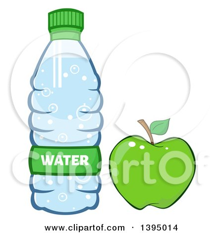 Clipart of a Cartoon Bottled Water and Green Apple - Royalty Free Vector Illustration by Hit Toon
