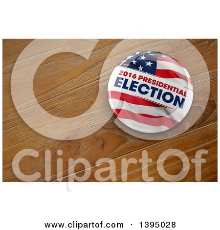 Clipart of a 3d 2016 Presidential Election Political Button Pin on Wood - Royalty Free Illustration by stockillustrations
