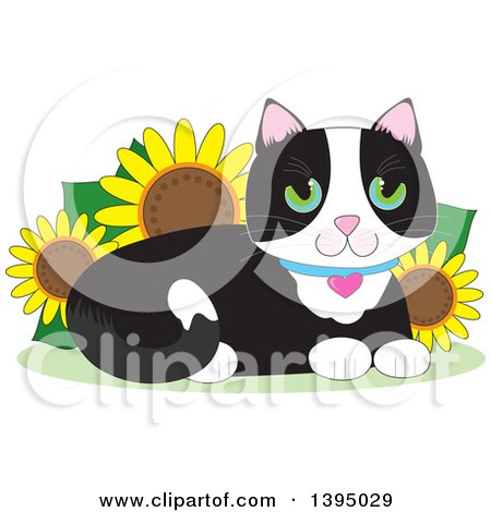 Clipart of a Cartoon Happy Green Eyed Tuxedo Cat Resting in a Sunflower Garden - Royalty Free Vector Illustration by Maria Bell