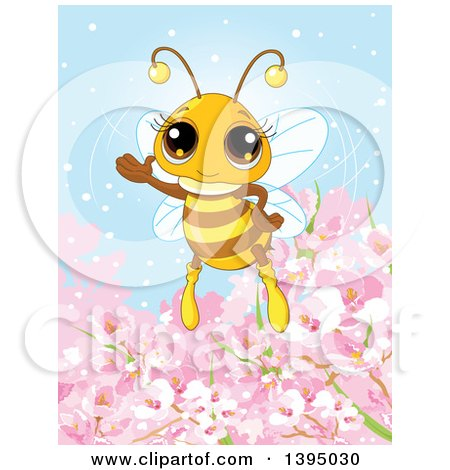 Clipart of a Cute Bee Waving over Spring Blossom Flowers - Royalty Free Vector Illustration by Pushkin
