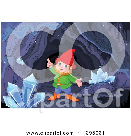 Clipart of a Happy Mining Gnome and Crystals in a Cave - Royalty Free Vector Illustration by Pushkin