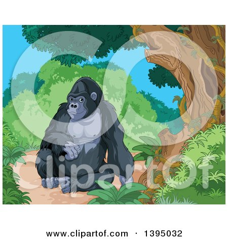 Clipart of a Happy Gorilla Resting in a Jungle - Royalty Free Vector Illustration by Pushkin
