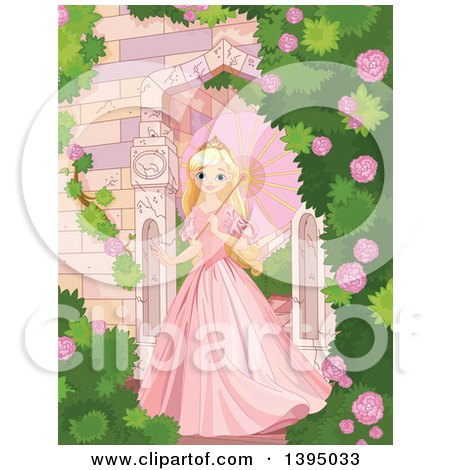 Clipart of a Beautiful Blond Haired Blue Eyed Caucasian Princess in a Pink Dress, Strolling with a Parasol in a Castle Rose Garden - Royalty Free Vector Illustration by Pushkin