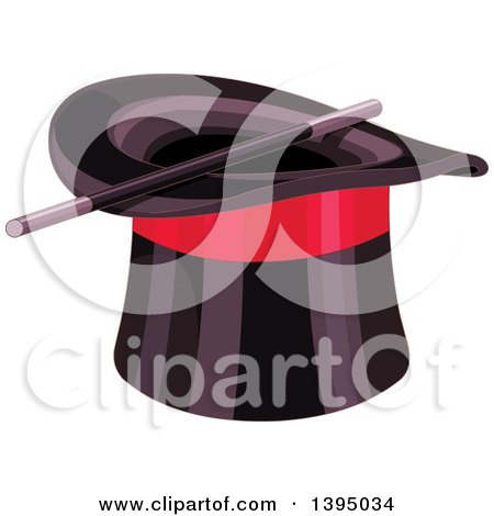 Clipart Of A Black Top Hat With A Red Band And Magic Wand Royalty Free Vector Illustration