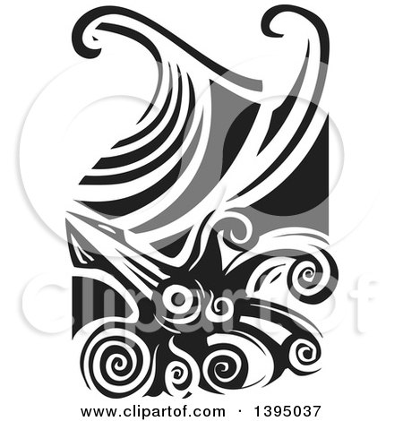 Clipart of a Black and White Woodcut Giant Squid and Ocean Waves - Royalty Free Vector Illustration by xunantunich