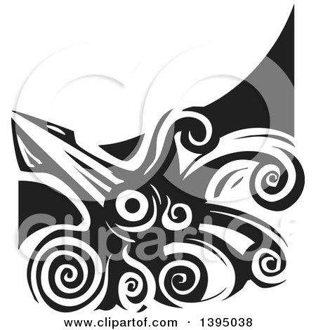 Clipart of a Black and White Woodcut Giant Squid - Royalty Free Vector Illustration by xunantunich