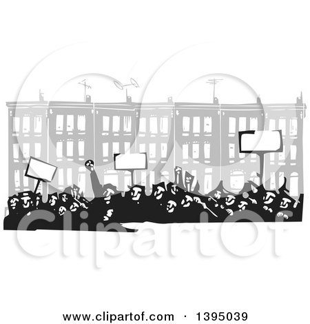 Clipart of a Woodcut Crowd of Protestors Holding Signs in Front of Baltimore Row Houses - Royalty Free Vector Illustration by xunantunich