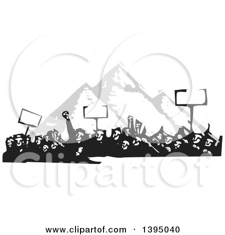 Clipart of a Woodcut Crowd of Protestors Holding Signs over the Egyptian Pyramids - Royalty Free Vector Illustration by xunantunich