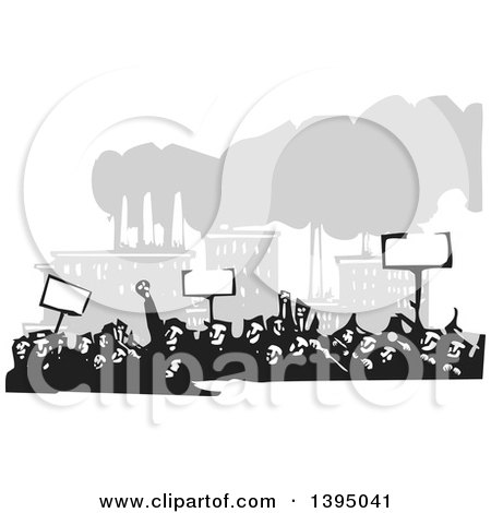 Clipart of a Woodcut Crowd of Protestors Holding Signs near a Factory - Royalty Free Vector Illustration by xunantunich