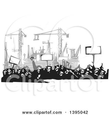 Clipart of a Woodcut Crowd of Protestors Holding Signs near a Factory Under Construction - Royalty Free Vector Illustration by xunantunich