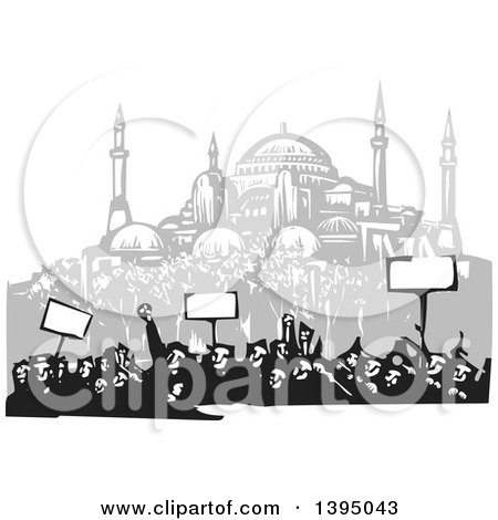 Clipart of a Woodcut Crowd of Protestors Holding Signs near the Hagia Sophia, Istanbul - Royalty Free Vector Illustration by xunantunich