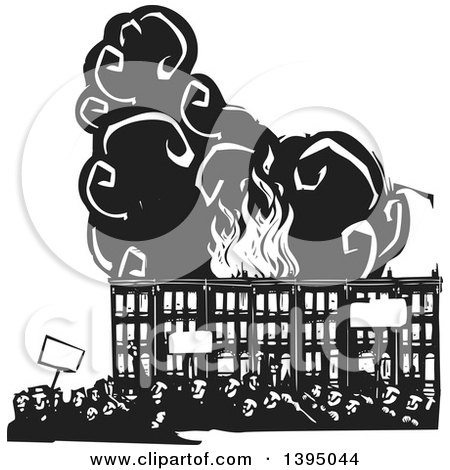 Clipart of a Woodcut Crowd of Protestors Holding Signs over Burning Baltimore Row Houses - Royalty Free Vector Illustration by xunantunich