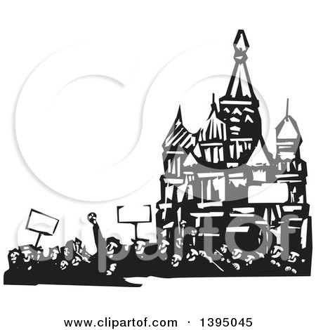 Clipart of a Woodcut Crowd of Protestors Holding Signs at the Kremlin in Moscow - Royalty Free Vector Illustration by xunantunich