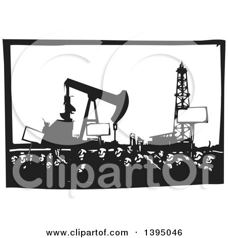 Clipart of a Woodcut Crowd of Protestors Holding Signs near an Oil Drill and Pump - Royalty Free Vector Illustration by xunantunich
