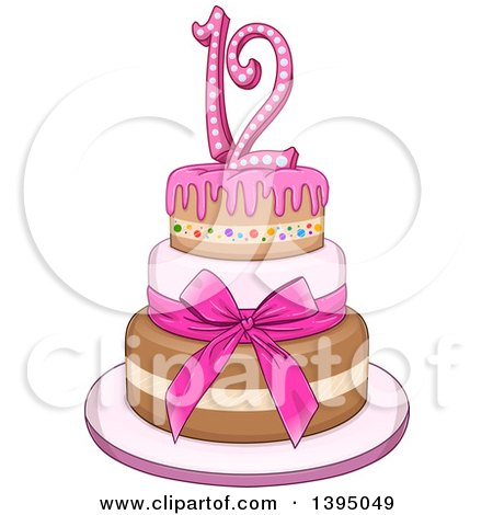 Clipart of a Girly Pink Bat Mitzvah Birthday Cake with Stars - Royalty Free Vector Illustration by Liron Peer