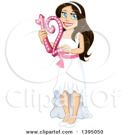 Clipart of a Happy Jewish Girl Holding 12 for Bat Matzvah - Royalty Free Vector Illustration by Liron Peer
