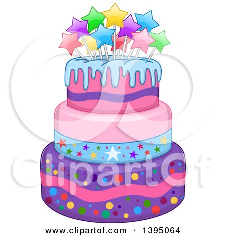 Clipart of a Girly Birthday Cake with Stars - Royalty Free Vector Illustration by Liron Peer